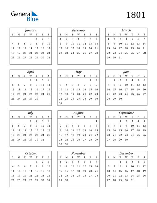 Image of 1801 1801 Calendar Streamlined