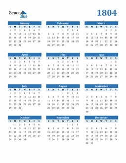 Image of 1804 1804 Calendar Blue with No Borders