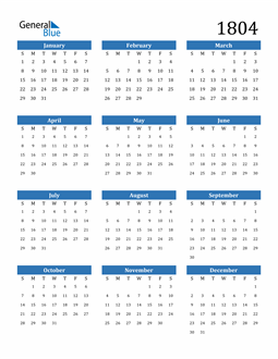 Image of 1804 1804 Calendar