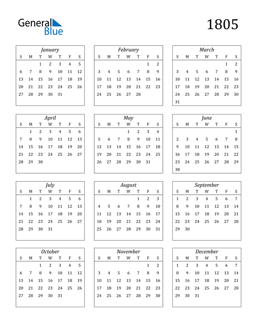Image of 1805 1805 Calendar Streamlined