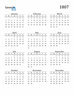 Image of 1807 1807 Printable Calendar Classic