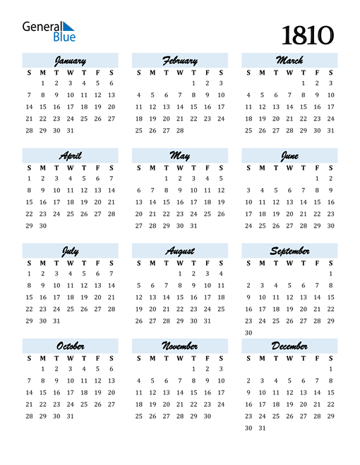 Image of 1810 1810 Calendar Cool and Funky