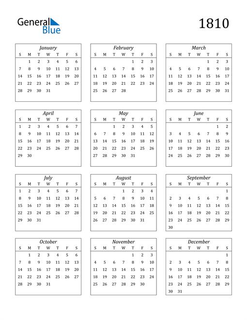 Image of 1810 1810 Calendar Streamlined