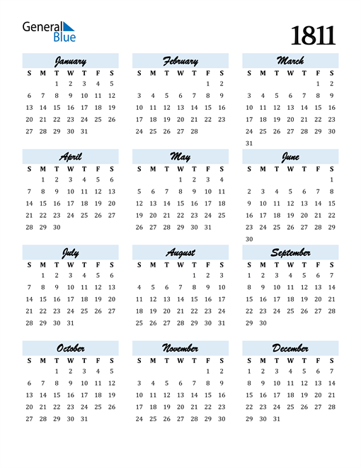 Image of 1811 1811 Calendar Cool and Funky