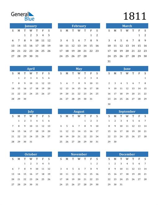 Image of 1811 1811 Calendar