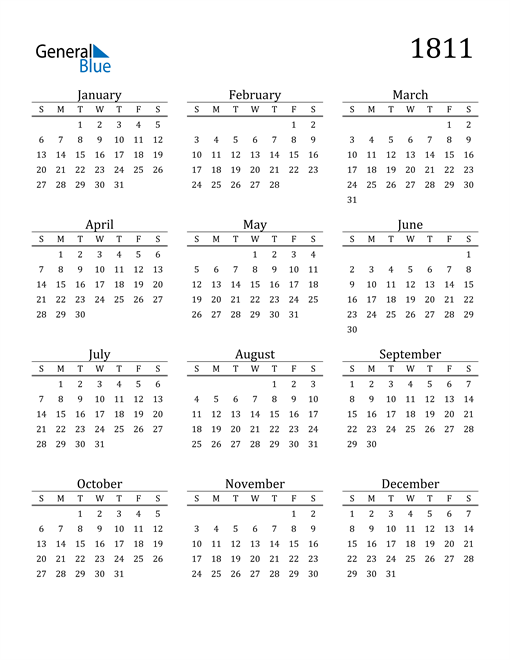 Image of 1811 1811 Printable Calendar Classic