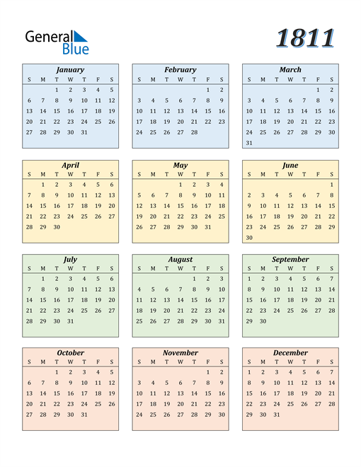 Image of 1811 1811 Calendar with Color