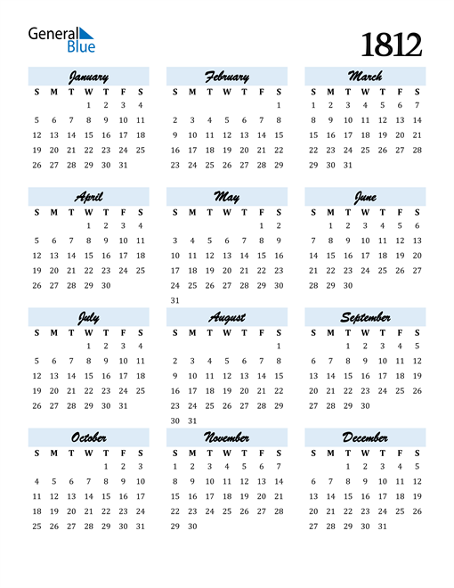 Image of 1812 1812 Calendar Cool and Funky