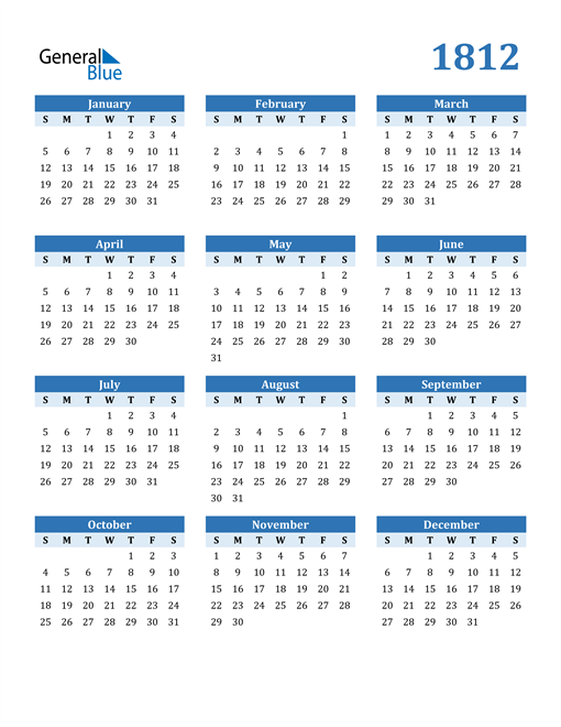 Image of 1812 1812 Calendar Blue with No Borders