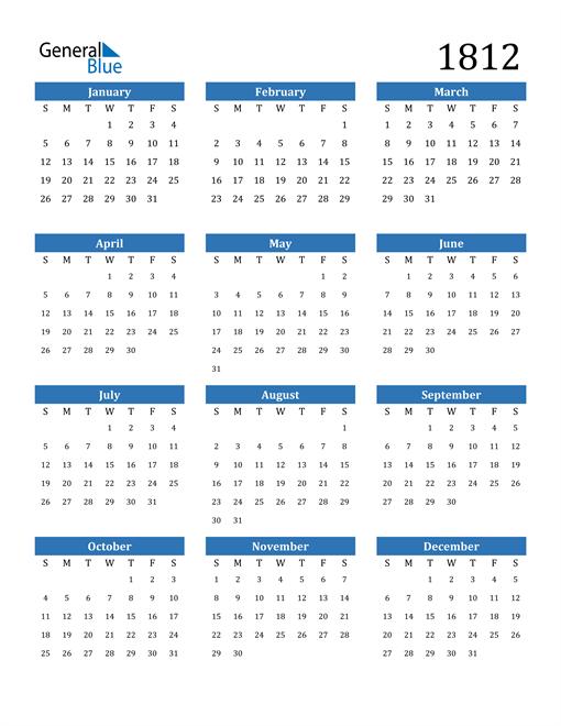 Image of 1812 1812 Calendar