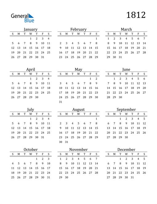 Image of 1812 1812 Printable Calendar Classic