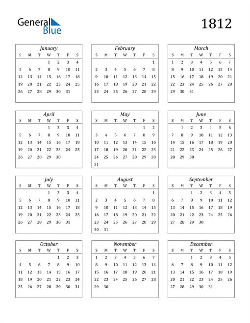 Image of 1812 1812 Calendar Streamlined