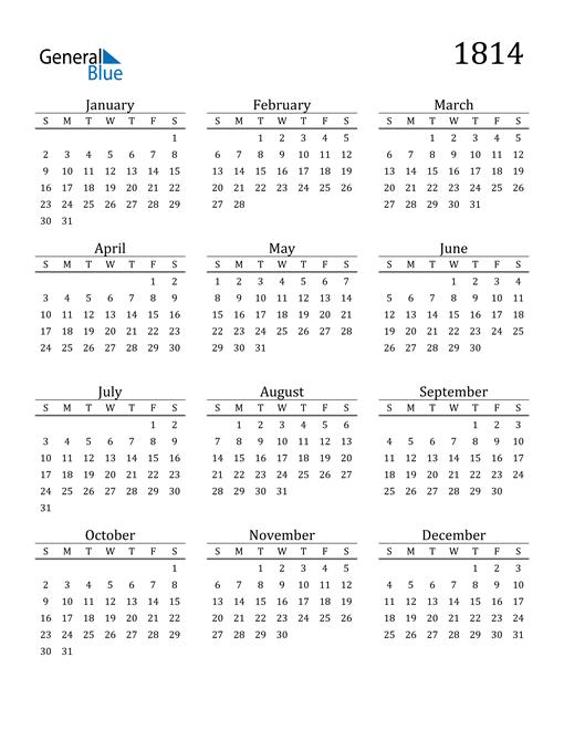 Image of 1814 1814 Printable Calendar Classic