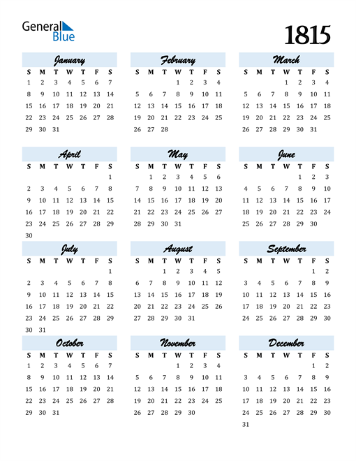 Image of 1815 1815 Calendar Cool and Funky