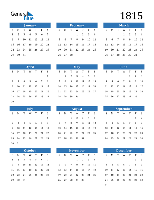 Image of 1815 1815 Calendar