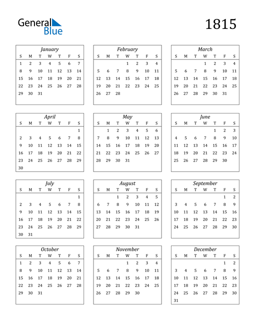 Image of 1815 1815 Calendar Streamlined