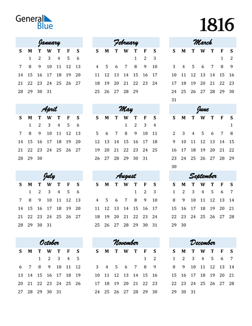 Image of 1816 1816 Calendar Cool and Funky