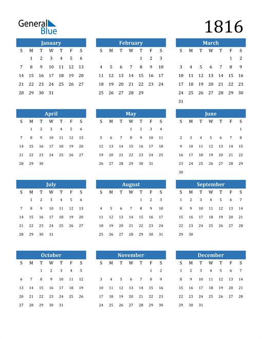 Image of 1816 1816 Calendar