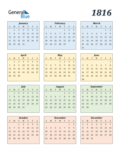 Image of 1816 1816 Calendar with Color