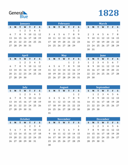 Image of 1828 1828 Calendar Blue with No Borders