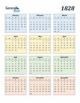 Image of 1828 1828 Calendar with Color