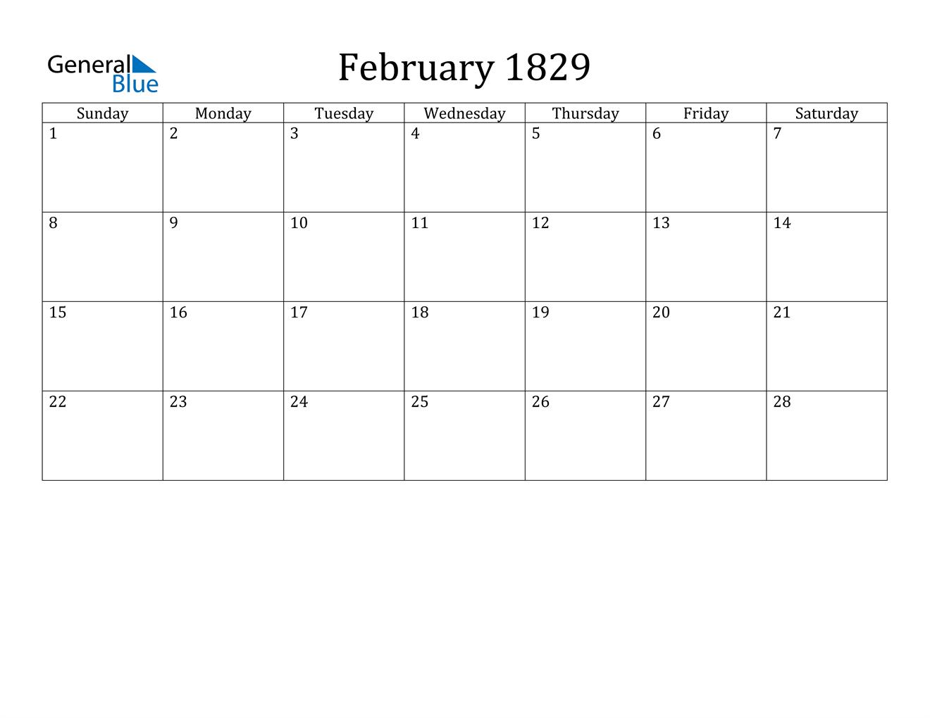 Image of February 1829 Calendar