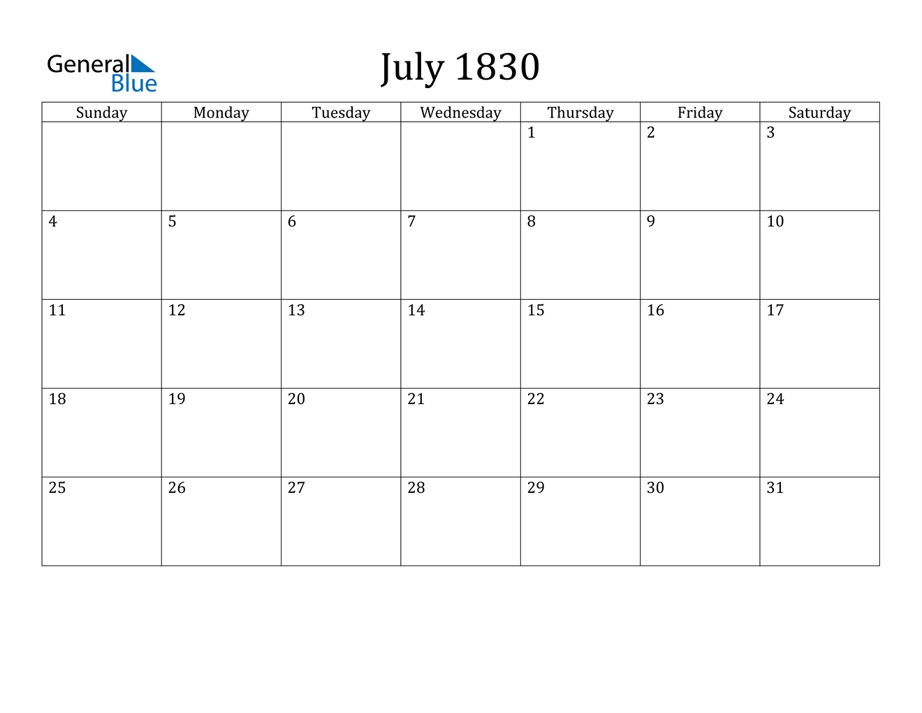 Image of July 1830 Calendar