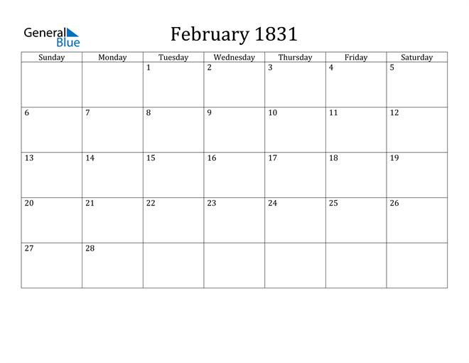 Image of February 1831 Classic Professional Calendar Calendar