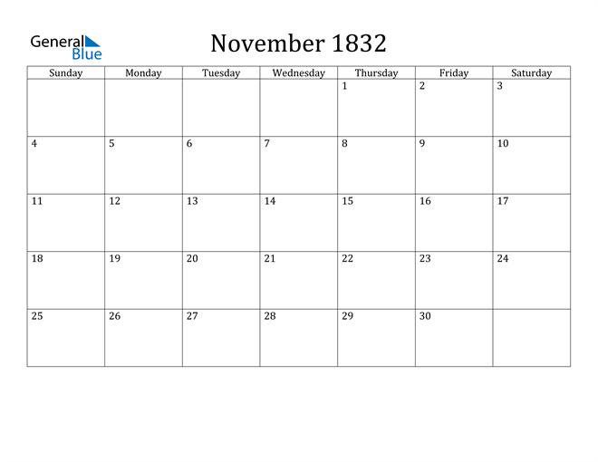 Image of November 1832 Classic Professional Calendar Calendar