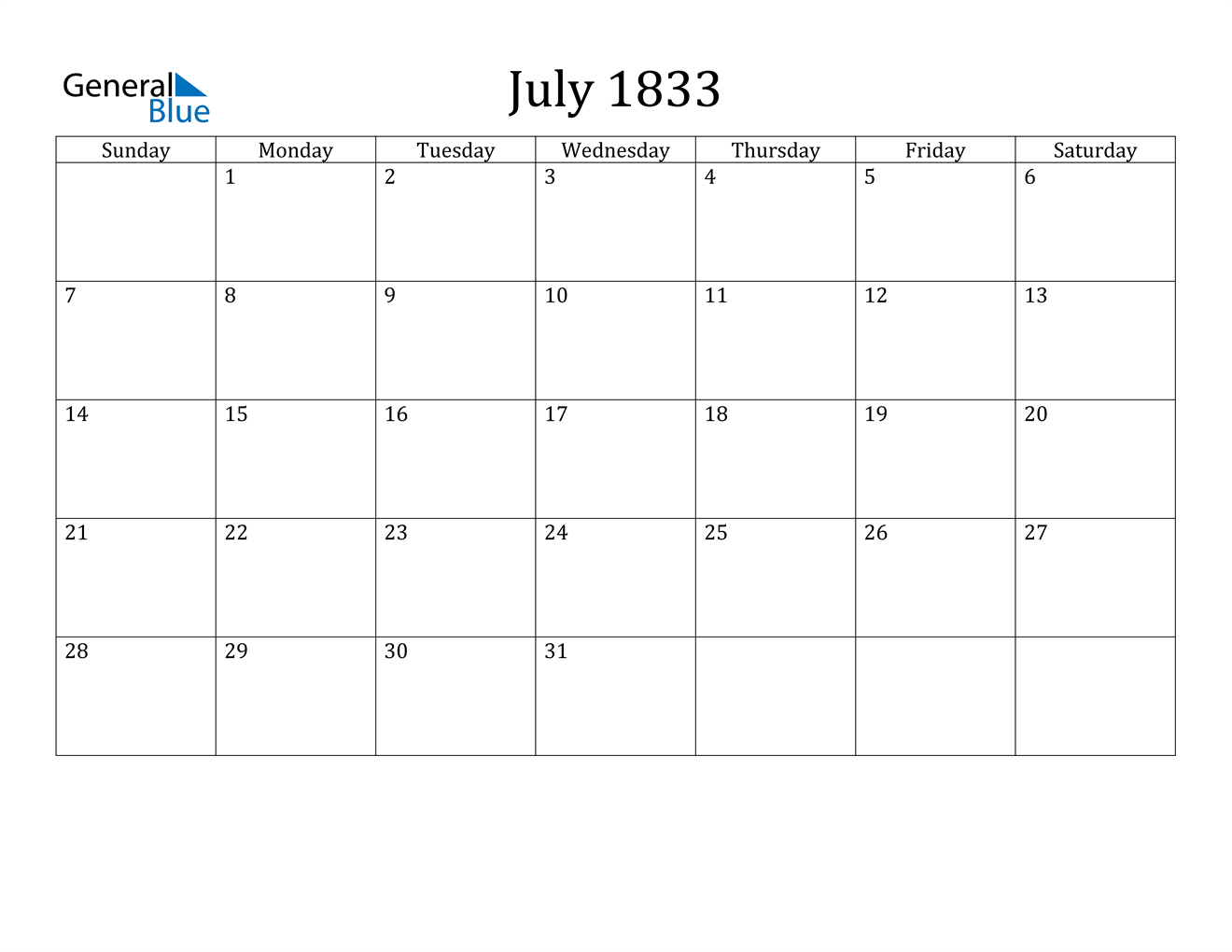 Image of July 1833 Calendar