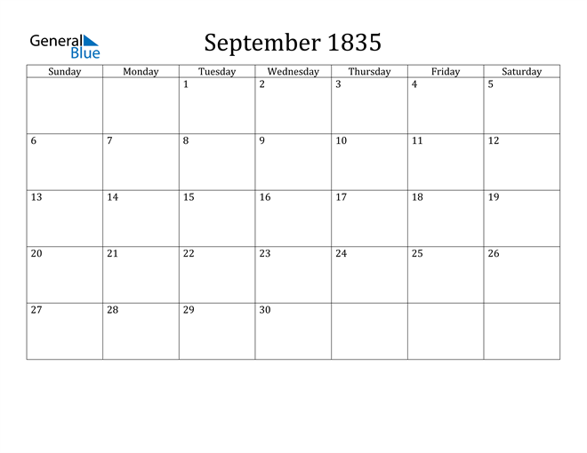 Image of September 1835 Classic Professional Calendar Calendar