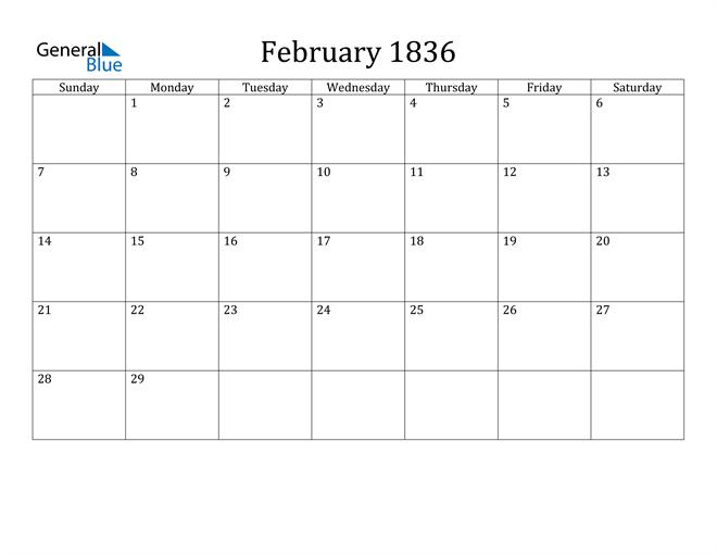 Image of February 1836 Classic Professional Calendar Calendar