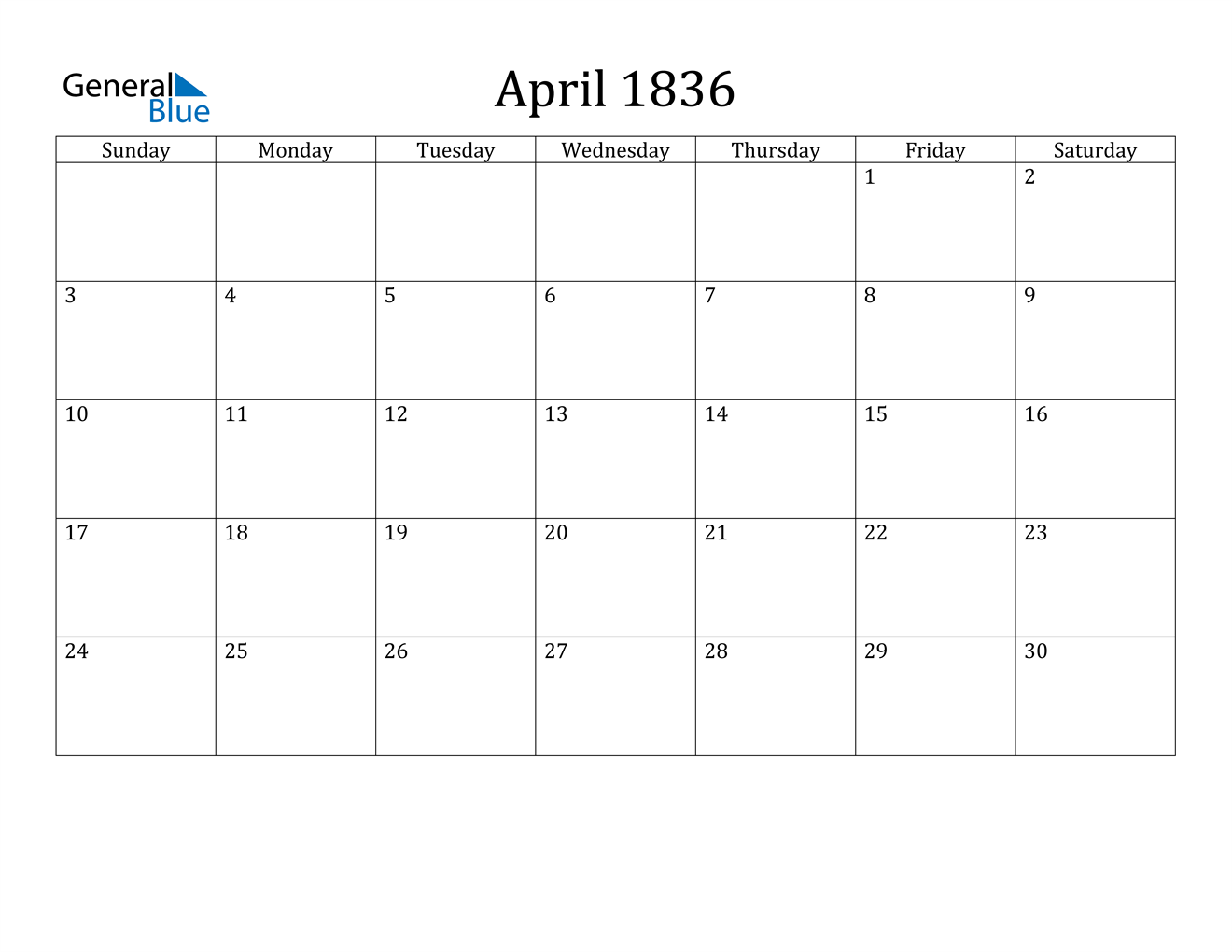 Image of April 1836 Calendar