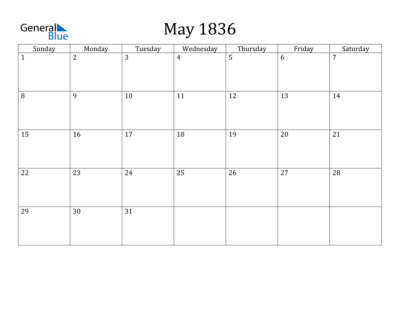 Image of May 1836 Calendar