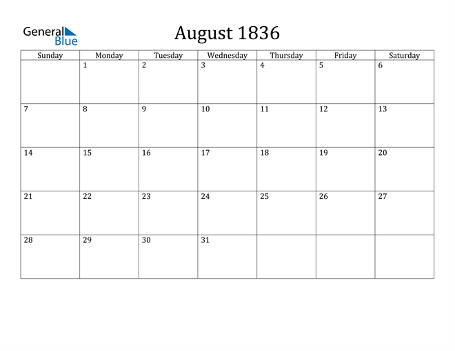 Image of August 1836 Classic Professional Calendar Calendar