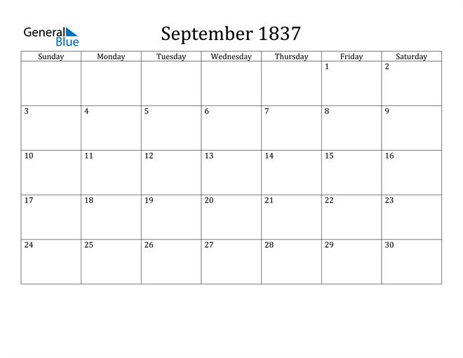 Image of September 1837 Classic Professional Calendar Calendar