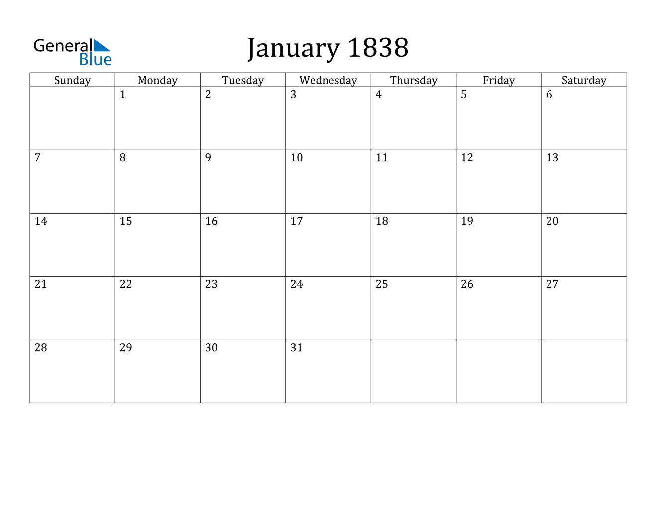 Image of January 1838 Calendar
