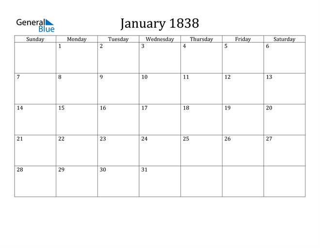 Image of January 1838 Classic Professional Calendar Calendar