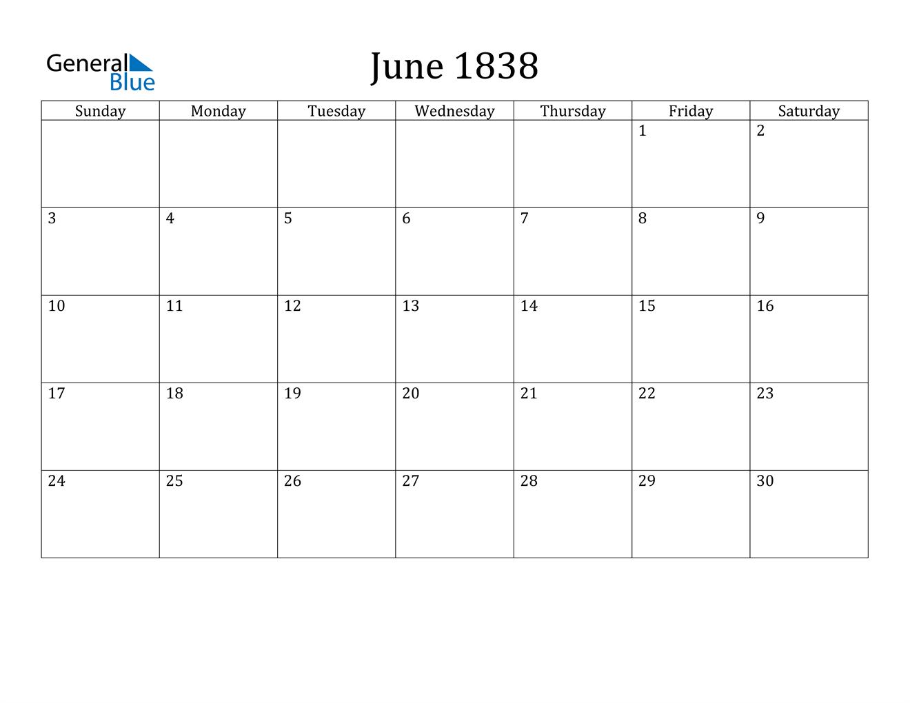 Image of June 1838 Calendar