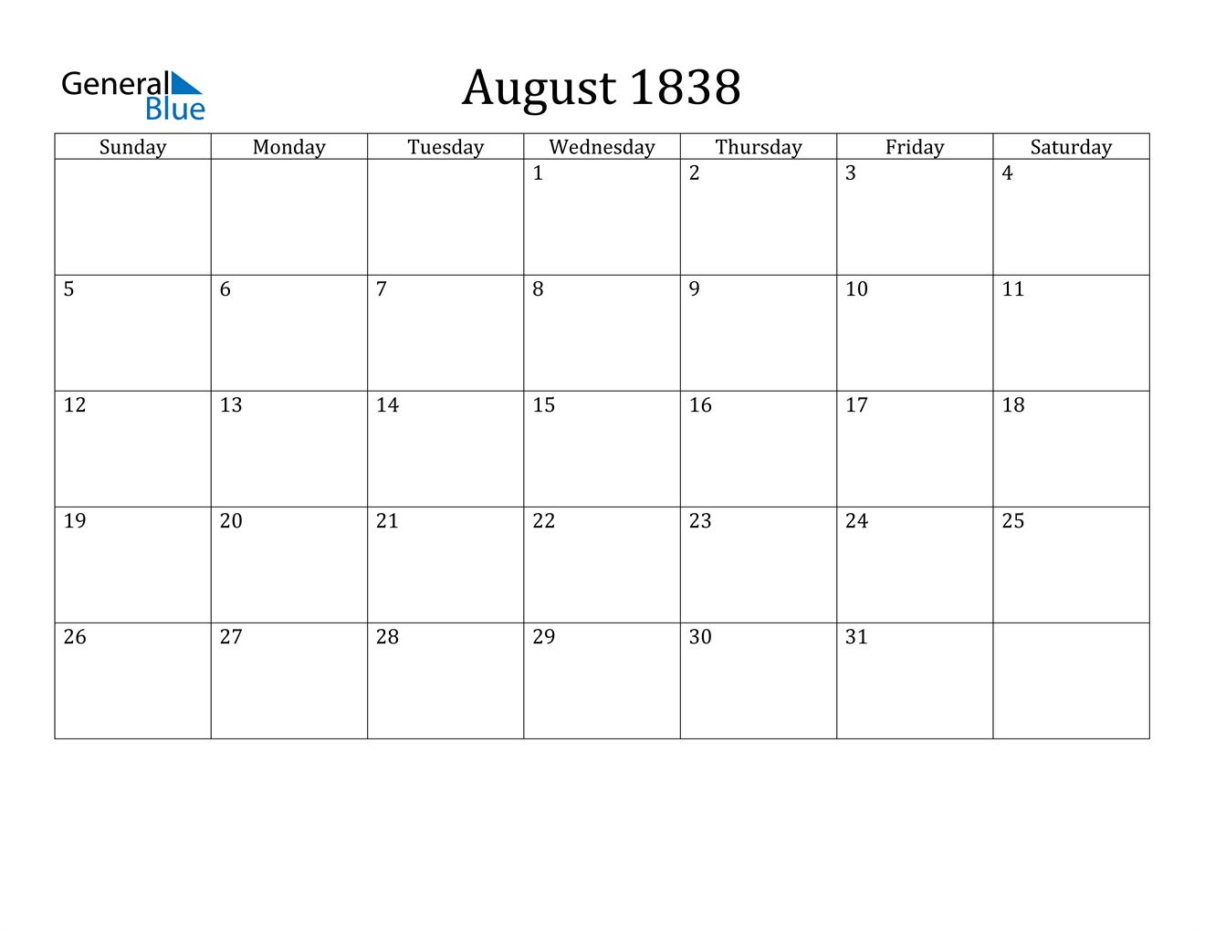 Image of August 1838 Calendar