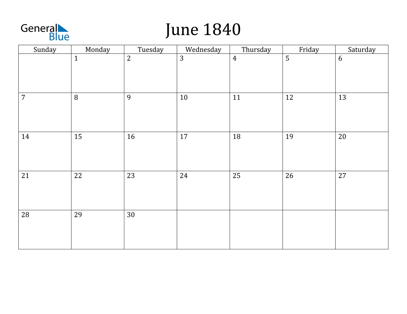 Image of June 1840 Calendar
