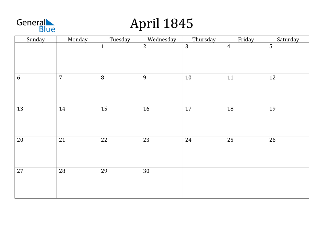 Image of April 1845 Calendar