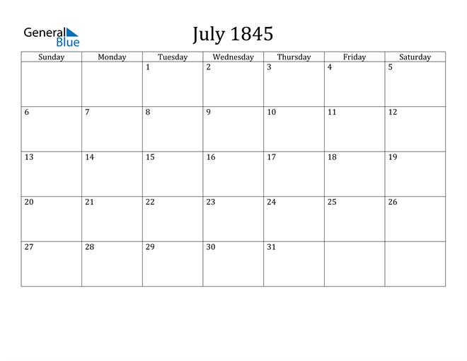 Image of July 1845 Classic Professional Calendar Calendar