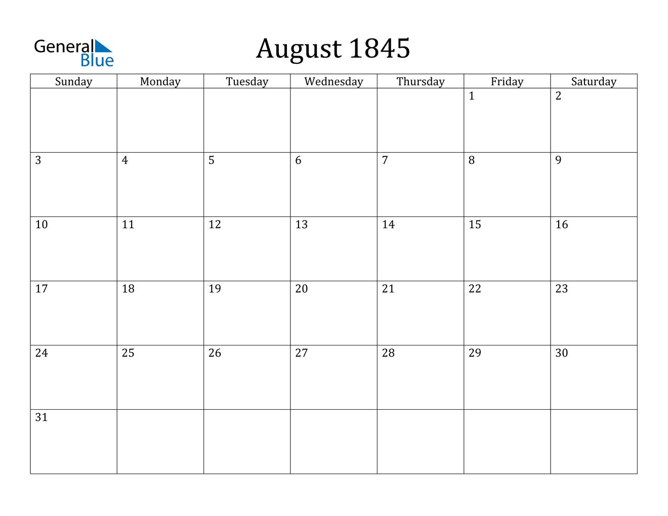 Image of August 1845 Calendar