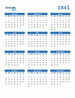 Image of 1845 1845 Calendar Blue with No Borders