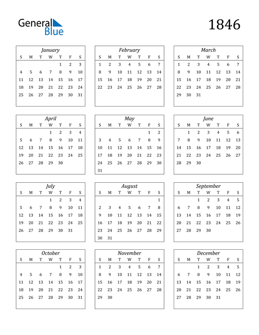 Image of 1846 1846 Calendar Streamlined