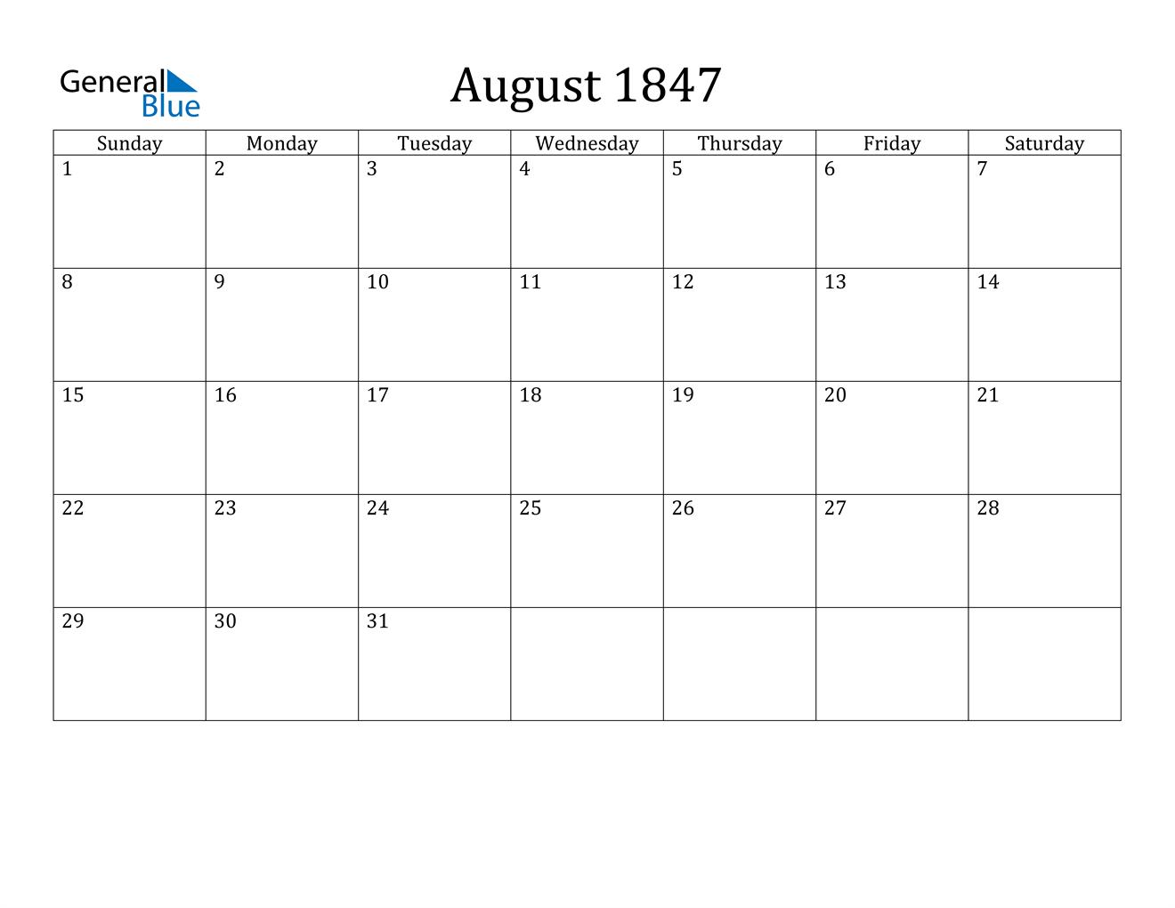 Image of August 1847 Calendar