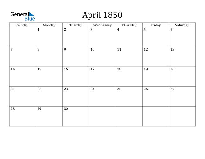Image of April 1850 Classic Professional Calendar Calendar