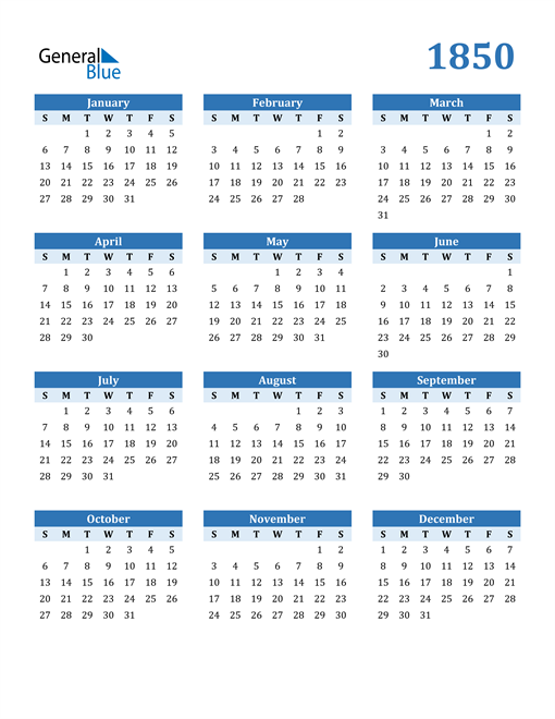 Image of 1850 1850 Calendar Blue with No Borders