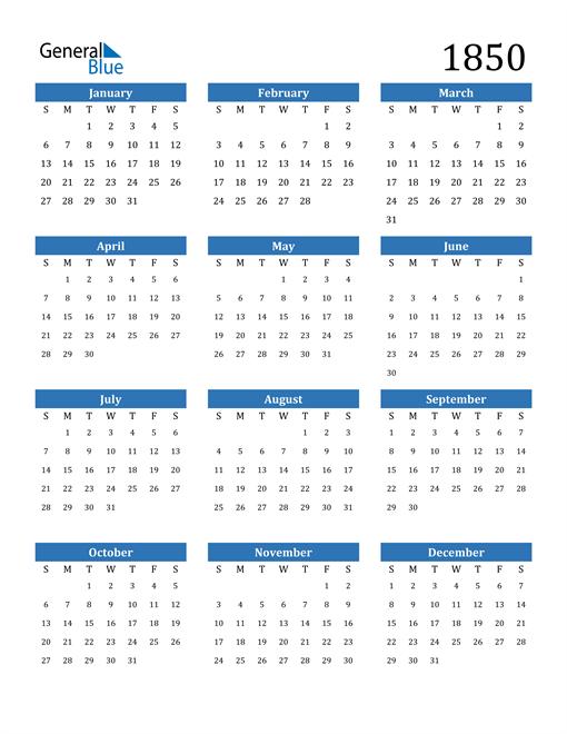 Image of 1850 1850 Calendar